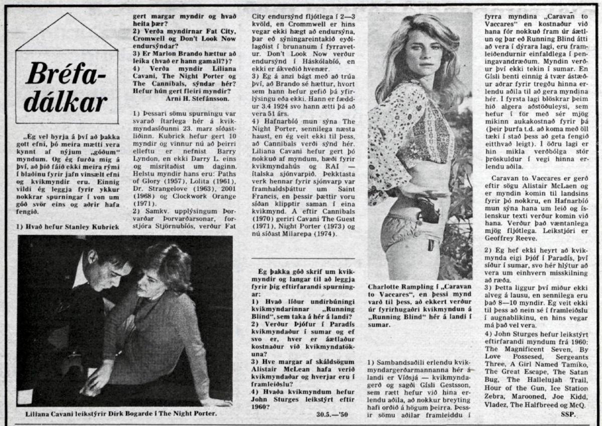 Desmond Bagley Icelandic media article from Morgunbladid 11th May 1975.