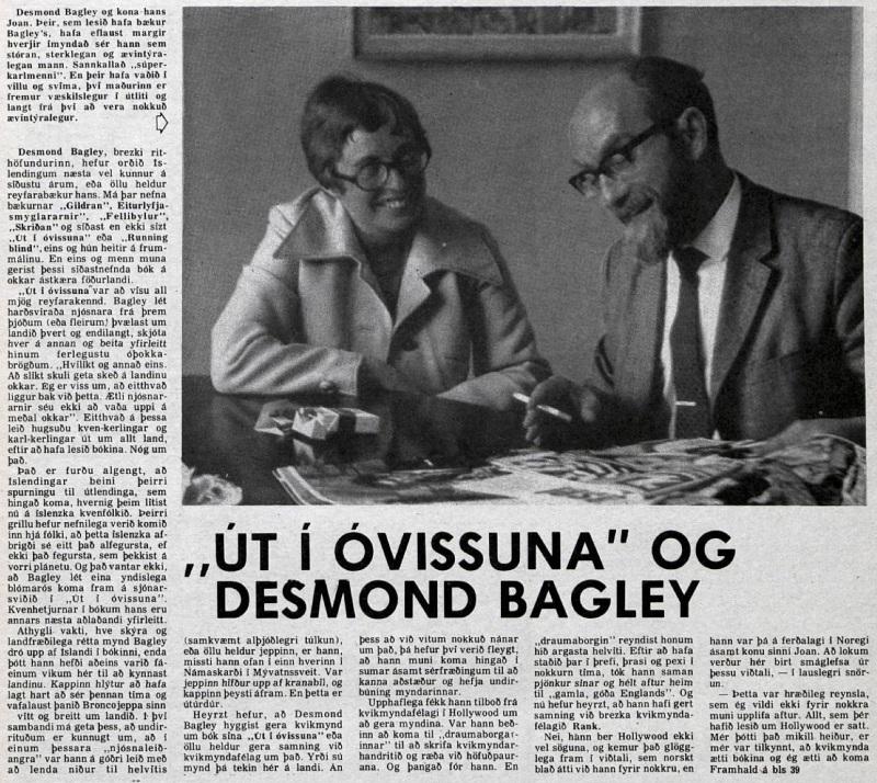 Desmond Bagley Icelandic media article from Timinn 15th April 1973.