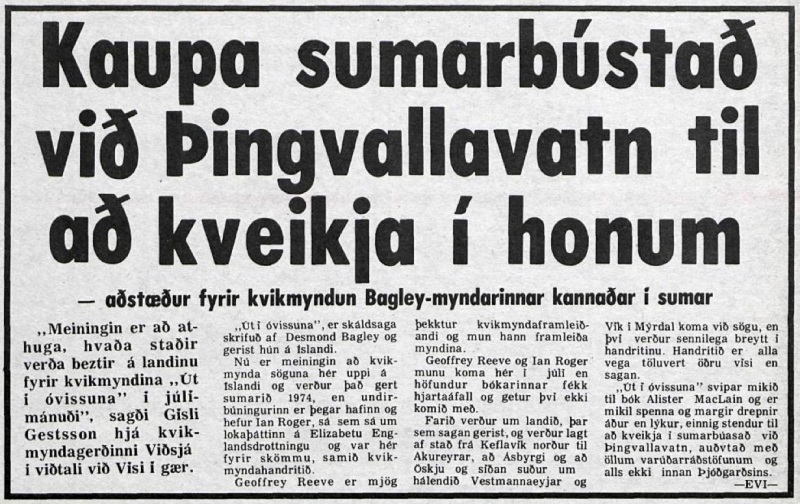 Desmond Bagley Icelandic media article from Visir 16th June 1973.