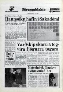 Desmond Bagley Icelandic media article from Morgunbladid 6th March 1973.