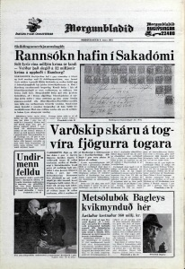 Desmond Bagley Icelandic media article from Morgunbladid 6th March 1973.
