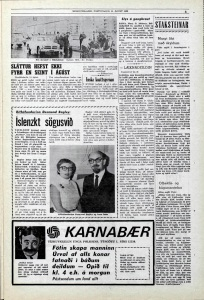 Desmond Bagley Icelandic media article from Morgunbladid 15th August 1969.
