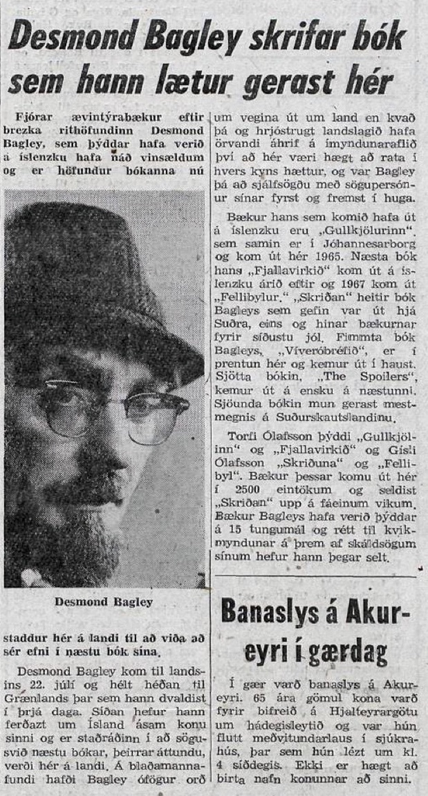 Desmond Bagley Icelandic media article from thjodviljinn 15th August 1969.