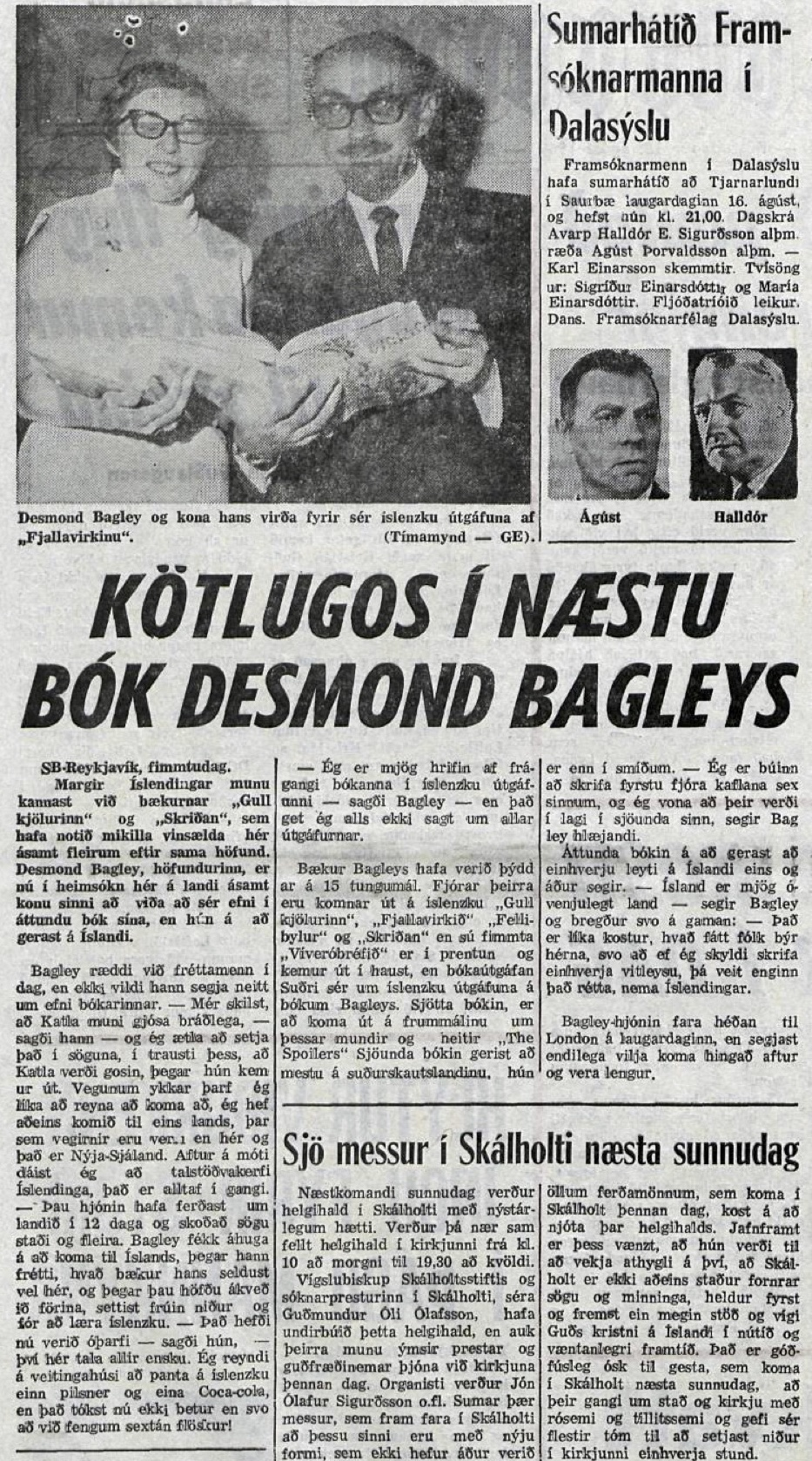 Desmond Bagley Icelandic media article from Timinn 15th August 1969.