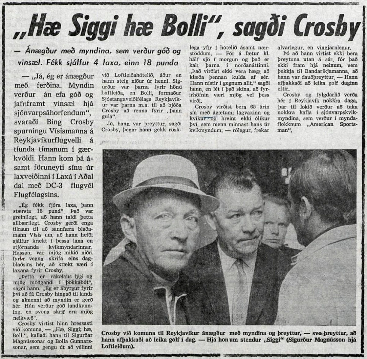 Bing Crosby Icelandic media article from Visir 23rd July 1969.