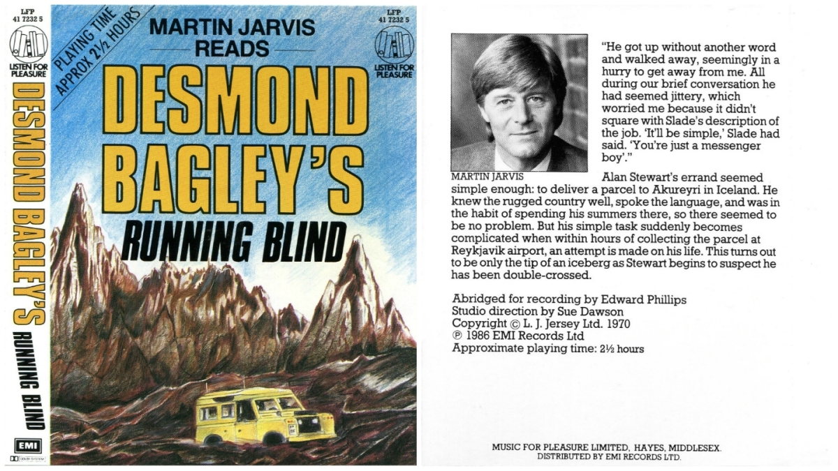 Desmond Bagley's Running Blind - EMI abridged audio book © L.J.Jersey Ltd., EMI records 1986.