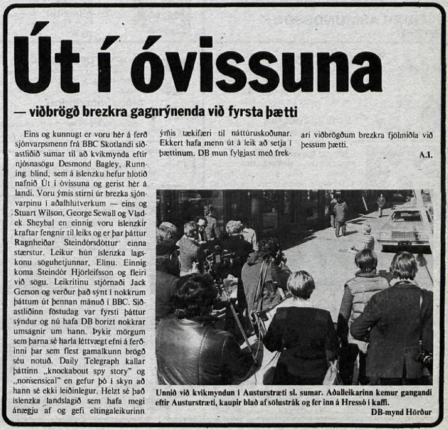 Desmond Bagley's Running Blind Icelandic media article from Dagbladid 11th January 1979.