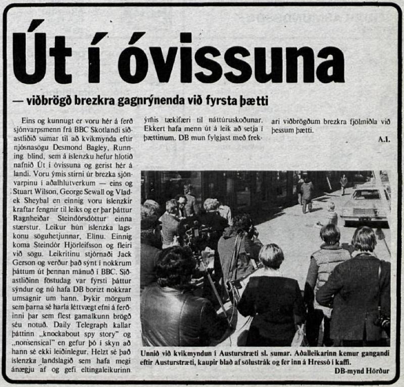 Desmond Bagley's Running Blind Icelandic media article from Dagbladid 11th January 1979.