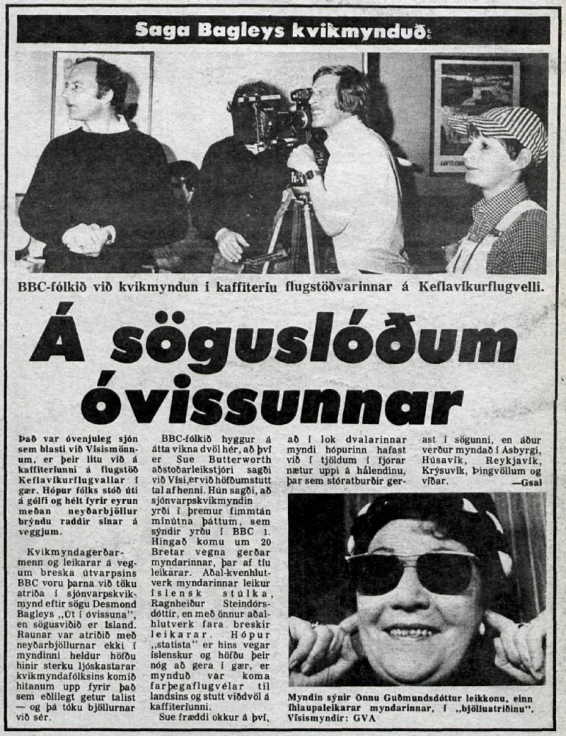 Desmond Bagley's Running Blind Icelandic media article from Visir 2nd June 1978.