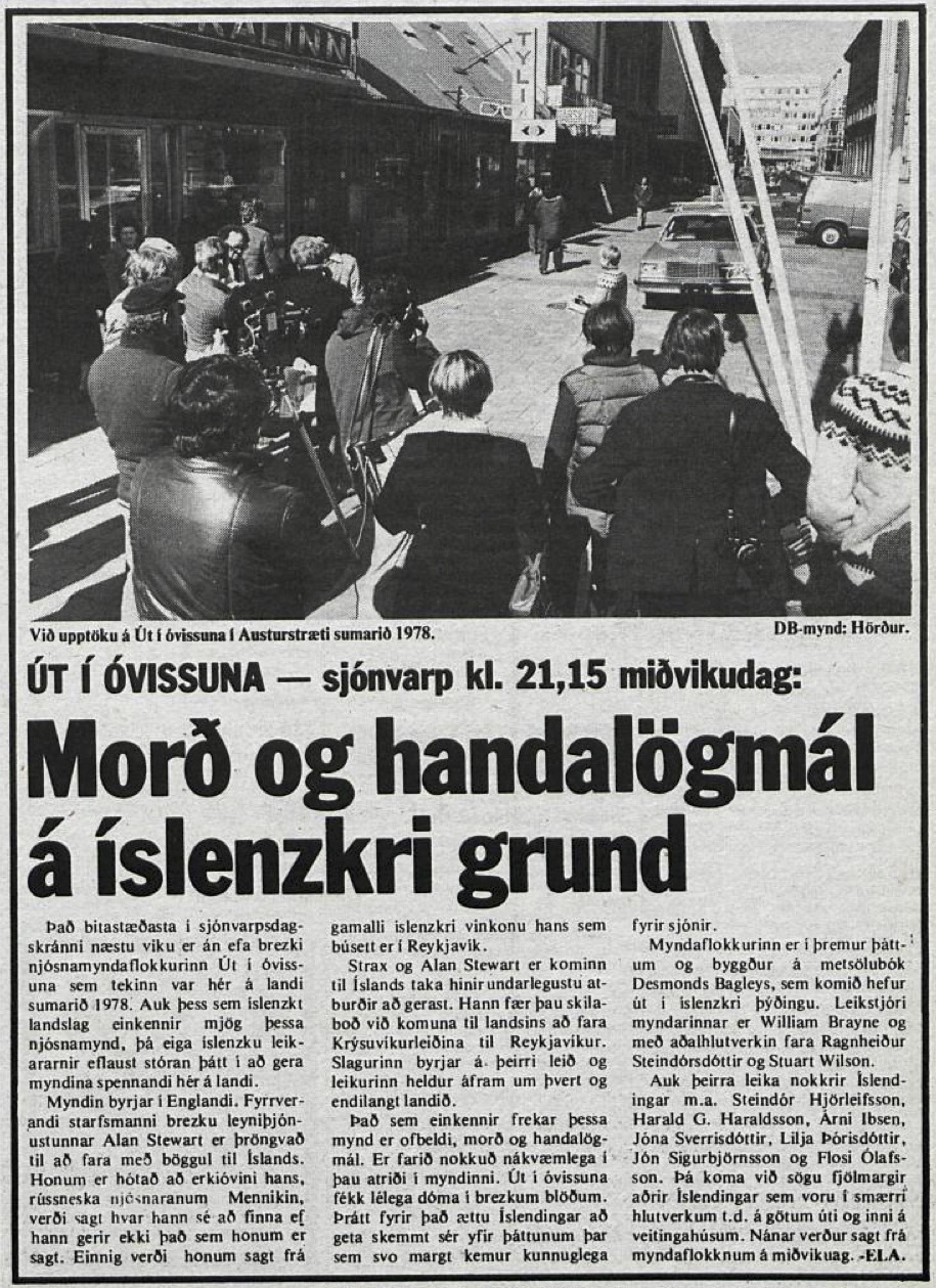 Desmond Bagley Running Blind Icelandic media article from Dagbladid 18th January 1980.