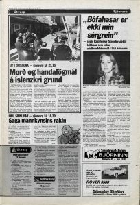 Desmond Bagley Running Blind Icelandic media article from Dagbladid 23rd January 1980.
