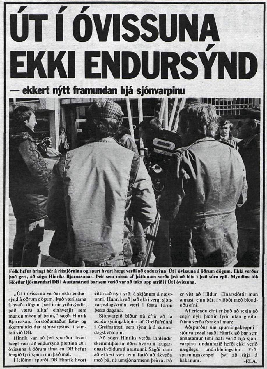 Desmond Bagley Running Blind Icelandic media article from Dagbladid 25th January 1980.
