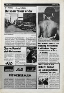 Desmond Bagley Running Blind Icelandic media article from Dagbladid 6th February 1980.