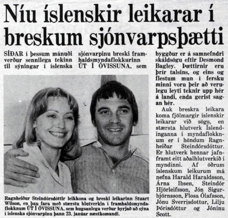 Desmond Bagley Running Blind Icelandic media article from Morgunbladid 13th January 1980.