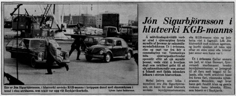 Desmond Bagley Running Blind Icelandic media article from Morgunbladid 20th January 1980.