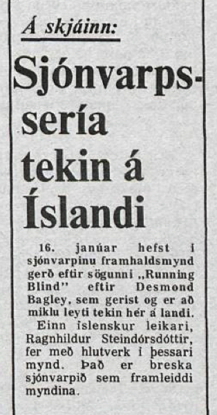 Desmond Bagley Running Blind Icelandic media article from Thjodviljinn 5th January 1980.