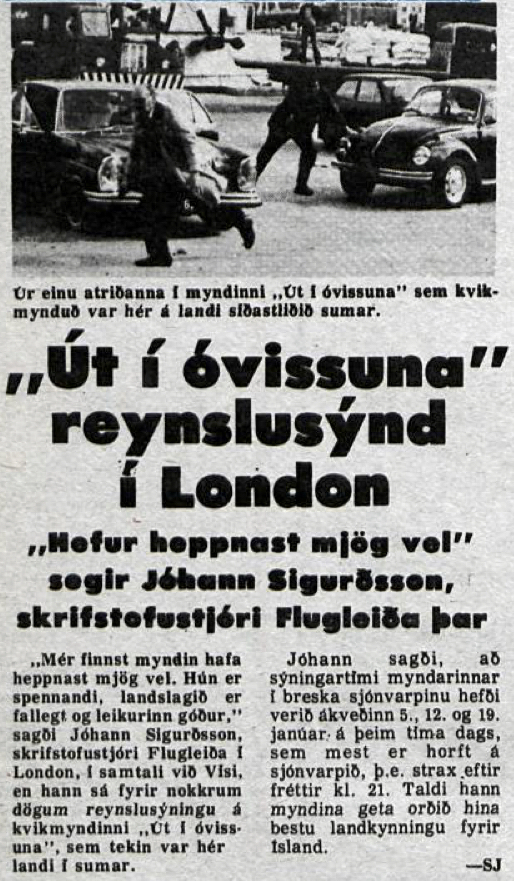 Desmond Bagley Running Blind Icelandic media article from Visir 30th October 1978.