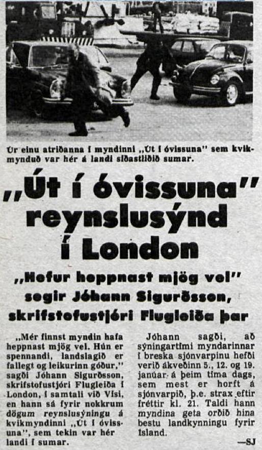 Desmond Bagley Running Blind Icelandic media article from Visir 30th October 1978.