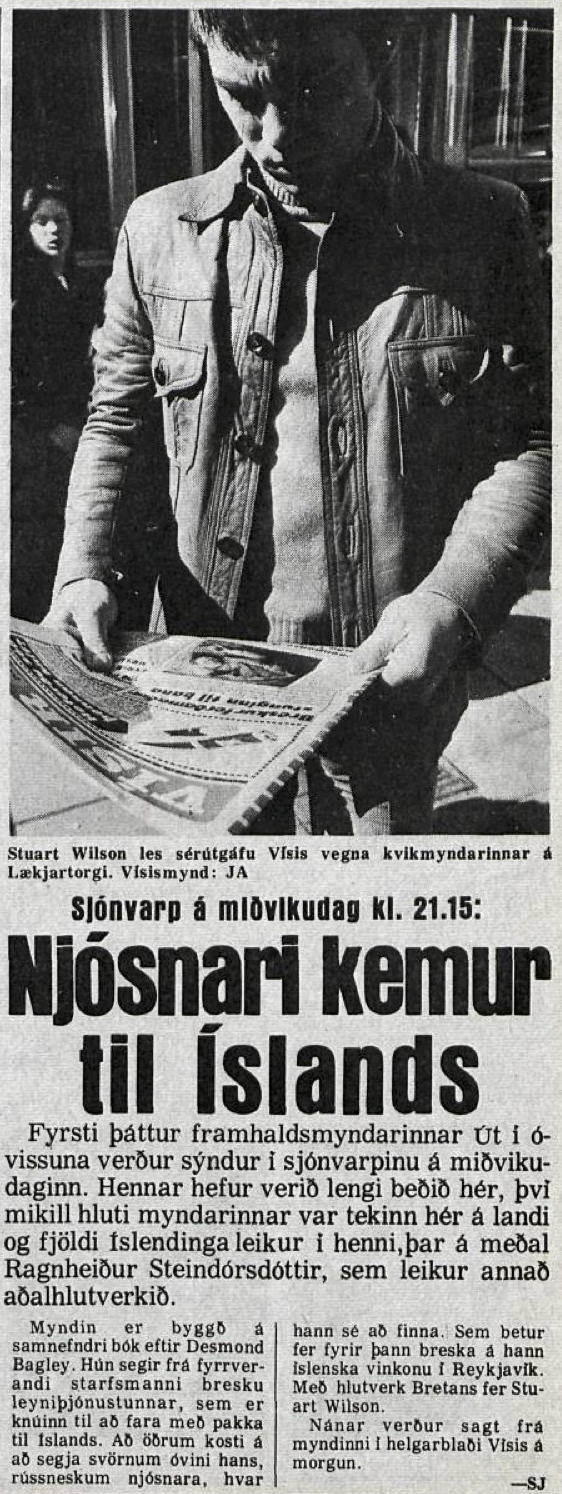 Desmond Bagley Running Blind Icelandic media article from Visir 18th January 1980.
