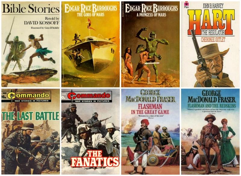 Gino D'Achille Book cover art collage - © HarperCollins Publishers Ltd, © Pan Macmillan Publishing, © Penguin Random House: Ballantine Books, Barrie & Jenkins, © D.C. Thompson & Co. Ltd.