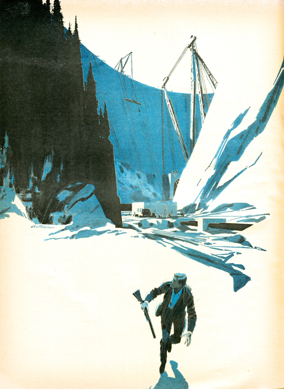 Desmond Bagley Landslide - Illustration by Lou Feck