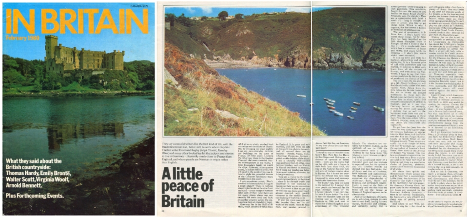 Desmond Bagley - 'A little peace of Britain' published February 1980 'In Britain' magazine. Courtesy & © The Chelsea Magazine Company Ltd.