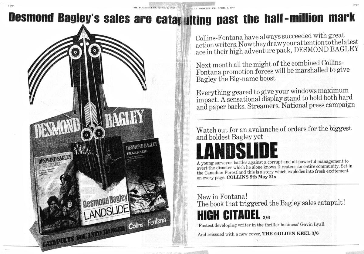 Desmond Bagley Landslide Collins/Fontana Promotion April 1964 © The Bookseller/HarperCollins Publishers.