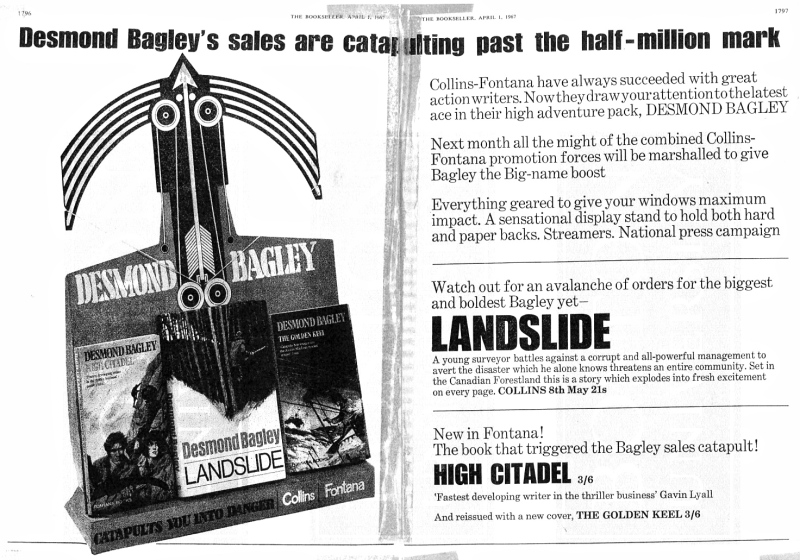 Desmond Bagley Landslide Collins/Fontana Promotion April 1964 © The Bookseller/HarperCollins Publishers.