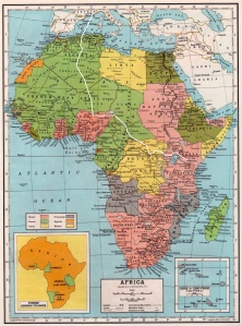 Africa circa 1947 showing Desmond Bagley's route. Map © C.S. Hammond & Co., N.Y.