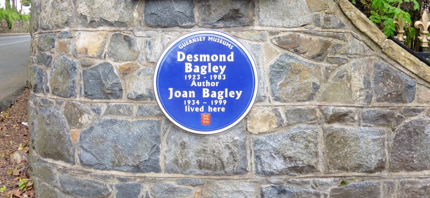 The Blue Plaque at Desmond and Joan Bagley's former residence Câtel House, now renamed Bagley Hall, in the Rohais de Haut, St. Andrew, Guernsey. © The Bagley Brief.