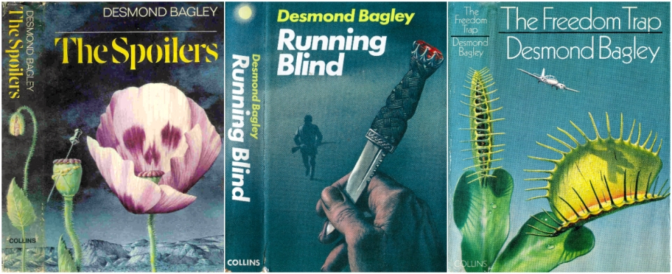Norman Weaver cover art for Desmond Bagley novels The Spoilers, Running Blind and The Freedom Trap © HarperCollins Publishers.