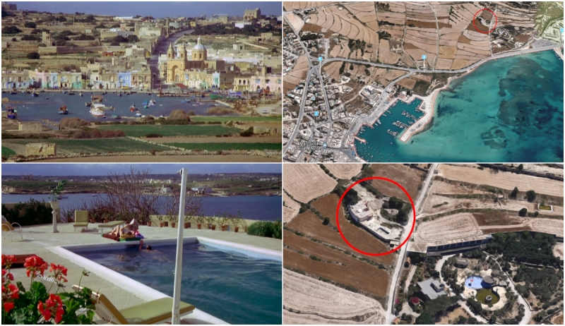 The Mackintosh Man - Filming locations at Delimara and Marsaxlokk Malta © Warner Bros 1973 & 2018 Google.