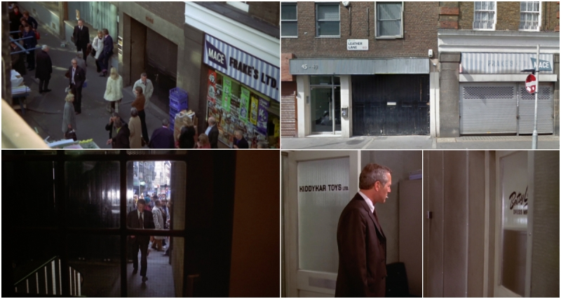 The Mackintosh Man - 45-49 Leather Lane, London © Warner Bros 1973 & 2018 Google.