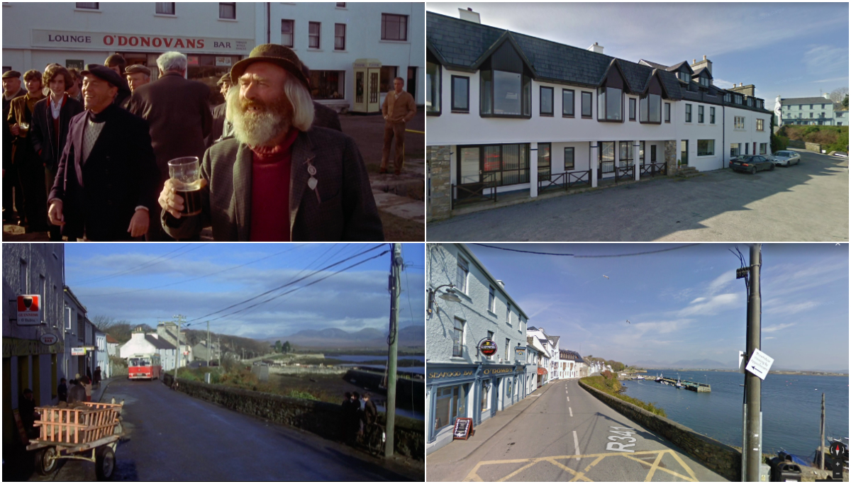 The Mackintosh Man - Filing Location at Roundstone Harbour, County Galway, Ireland. © Warner Bros 1973 / © 2018 Google.