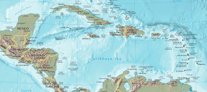 Desmond Bagley - Domino Island - Caribbean Islands Map © Wikimedia Commons.