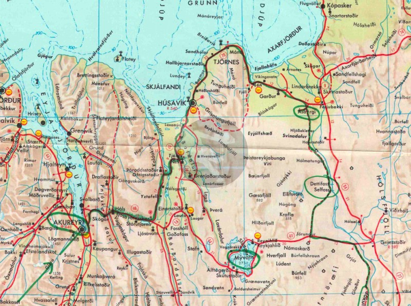 Desmond Bagley's Running Blind route map Myvatn extract © HarperCollins Publishers.