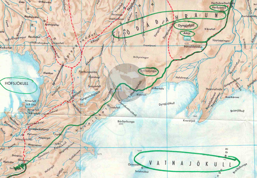 Desmond Bagley's Running Blind route map - Askja extract © HarperCollins Publishers.