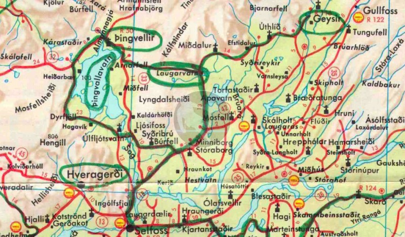 Desmond Bagley's Running Blind route map - Geysir extract © HarperCollins Publishers.