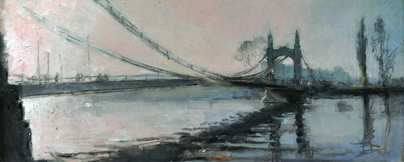 Oliver Elmes untitled painting of Hammersmith Bridge, London 2009 © T. O. Elmes.