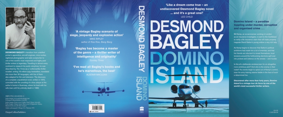 Domino Island by Desmond Bagley Review Copy dustjacket © HarperCollins Publishers.