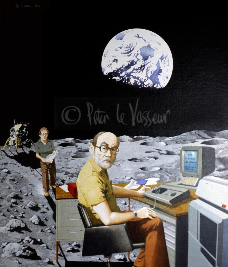 Desmond Bagley's portrait 'Moon Fantasy' by Guernsey based artist Peter Le Vasseur © 1980 Peter Le Vasseur.