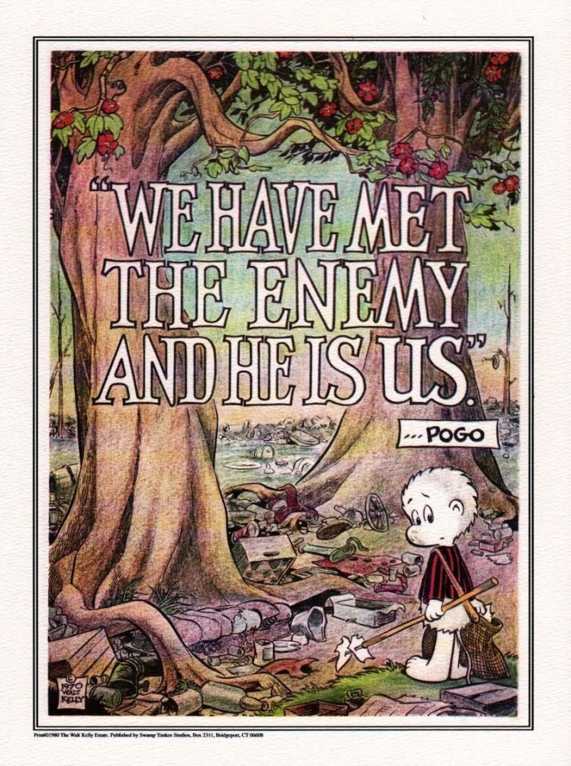 Anti-pollution poster used for the first Earth Day in 1970, showing Walt Kelly's Pogo character © Walt Kelly.