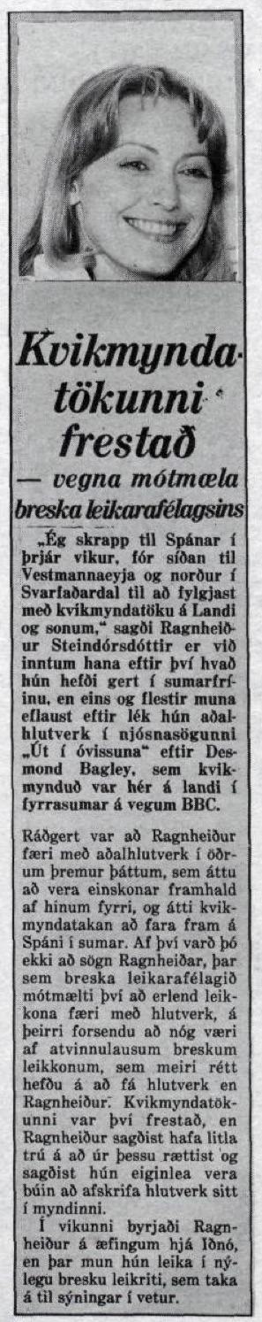 Article on BBC tv series The Assassination Run from Icelandic Newspaper Morgunbladid 19th August 1979.