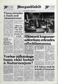 Desmond Bagley Running Blind Icelandic media article from Morgunbladid 8th April 1978.