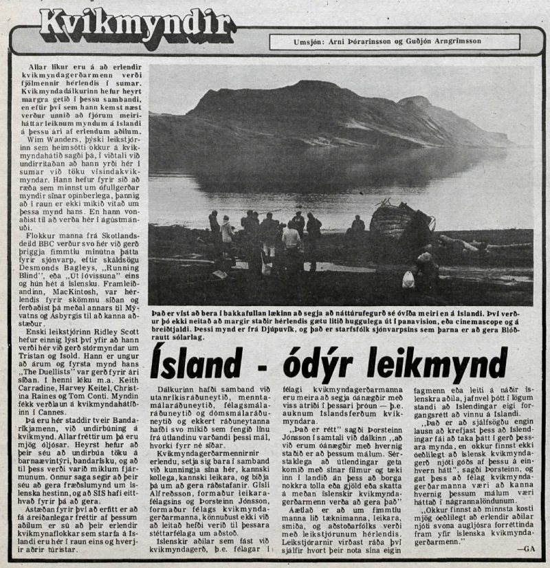 Desmond Bagley Running Blind Icelandic media article from Visir 19th April 1978.
