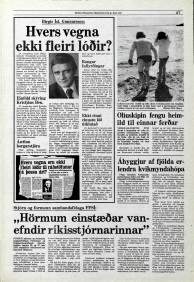 Icelandic media article from May 1979 about foreign film companies filming in iceland without permits from the authorities, mentioning the BBC Scotland adaptation of Desmond Bagley's novel Running Blind.