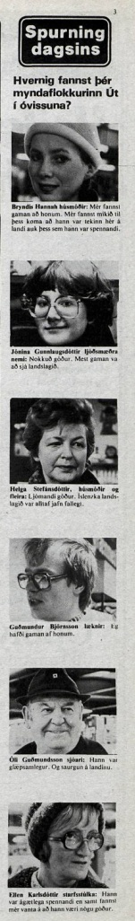 Desmond Bagley Running Blind Icelandic media article from Dagbladid 8th February 1980.