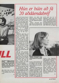 Icelandic media article from March 1979 about Ragnheidur Steindorsdottir and her role in the BBC Scotland adaptation of Desmond Bagley's novel Running Blind.