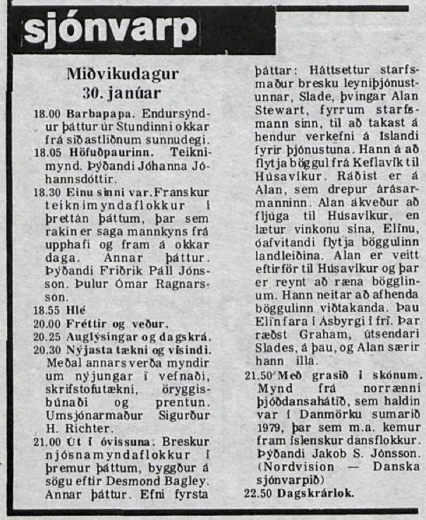 Desmond Bagley Running Blind Icelandic media article from Timinn 30th January 1980.